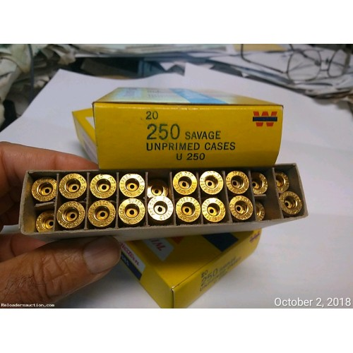 NEW 20 pcs 250 SAVAGE Brass Boxed Crisp Fresh Virgin Brass not available on gunbroker